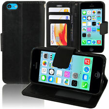 Etui Coque Housse Portefeuille Support Video Cuir NOIR Pour Apple iPhone 5C