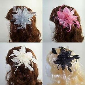 Wedding-Day-Dotty-Flower-Fascinator-on-Clear-Comb-with-Feather-detail