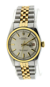 Details about Rolex Oyster Perpetual Datejust Bubble Back Two Tone  Stainless Steel Watch 6105