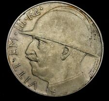 1928 Italy 20 Lira Silver Coin Looks AU Km #70