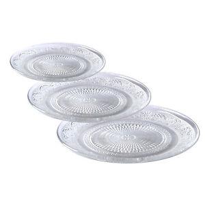 3 tailles assiettes en verre plats service cuisine de dessert plaque ebay. Black Bedroom Furniture Sets. Home Design Ideas