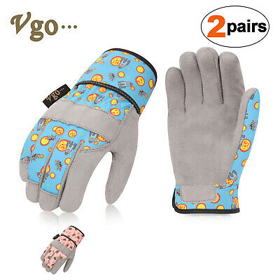 Bamboo Fibre Working Gardening Gloves Vgo 2Pairs Kids Gloves for Age 3-5 Size XXXS,Green,KID-RB6026