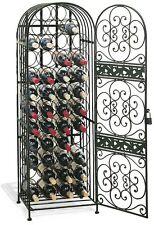 Stackable Rustic Wrought Iron Metal Wine Bottle Rack Jail Cabinet Shelves Bronze