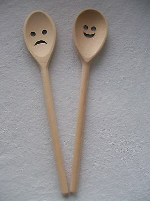 Wooden Spoon Cooking Kitchen Utensil Heart Smiley Sad Face Gift