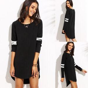 Womens-Loose-Pullover-T-Shirt-Long-Sleeve-Cotton-Tops-Shirt-Blouse-Dress-Pop