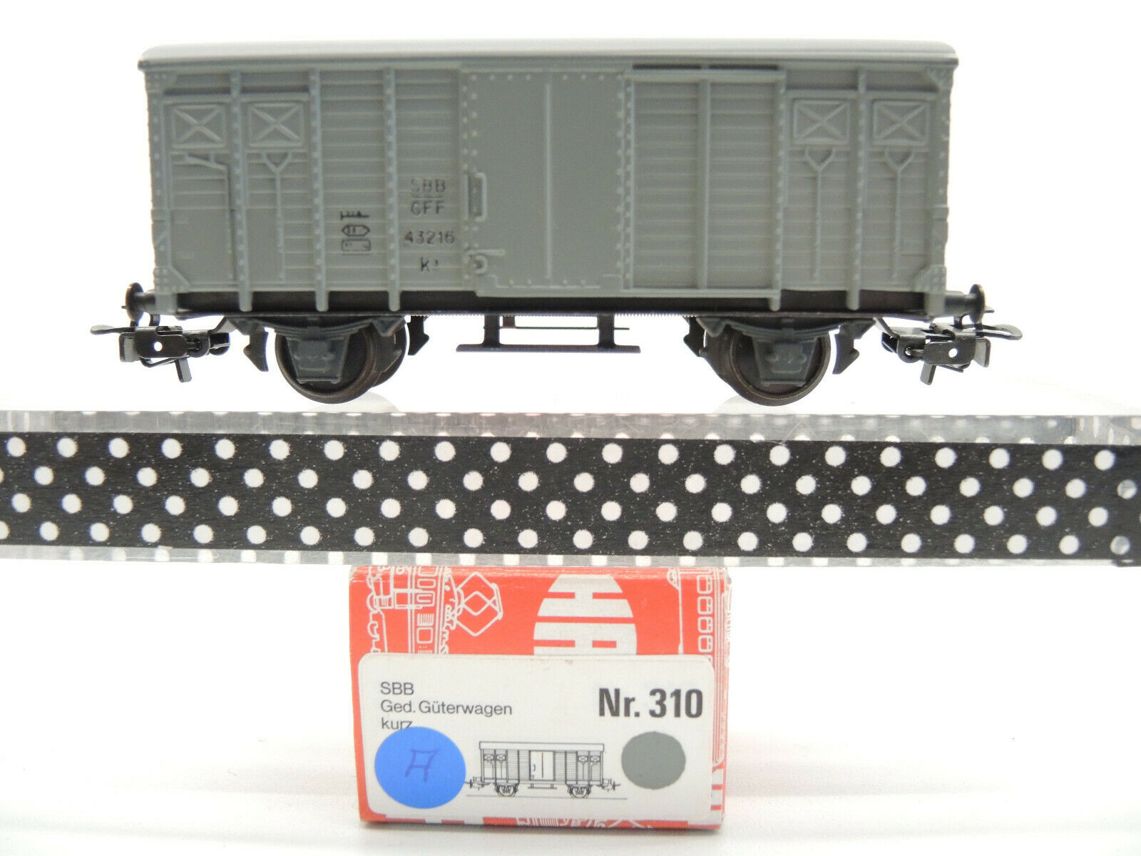 Hag 310 covered Freight Wagon of the SBB, Grey, 43216, Top, Original Box (A)