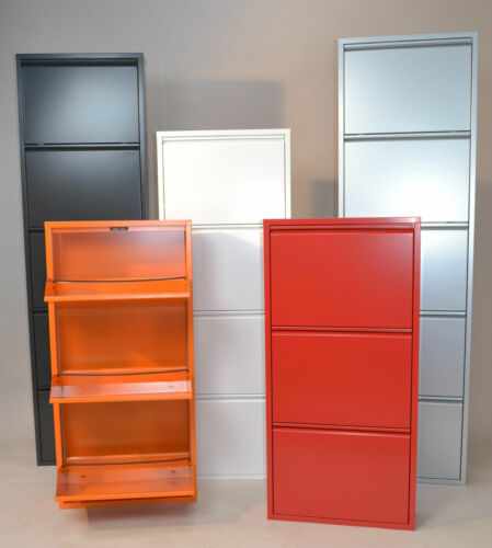 moderner Metall-Schuhschrank orange 4 Klappen Schuhkipper Schuhregal design neu