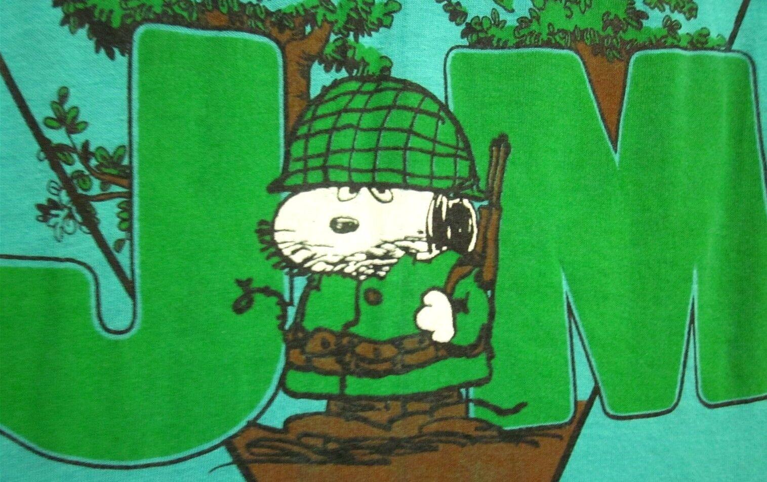 JOE MUD Grafenwohr Military Peanuts small T shirt 1970s Snoopy tee Germany Artex