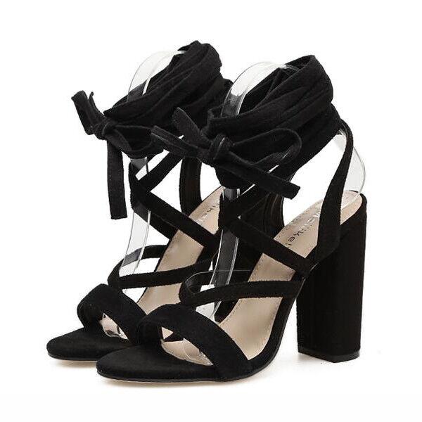 Sandalei eleganti tacco tacco eleganti quadrato 9.5 9.5 quadrato cm nero lacci simil ... 59e7d1