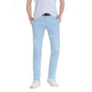 a090f6022ee706 Men's Smart Casual Cotton Slim Skinny Fit Chino Trousers - Light Sky ...