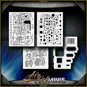 details about mini circuit board set airbrush stencil template airsick