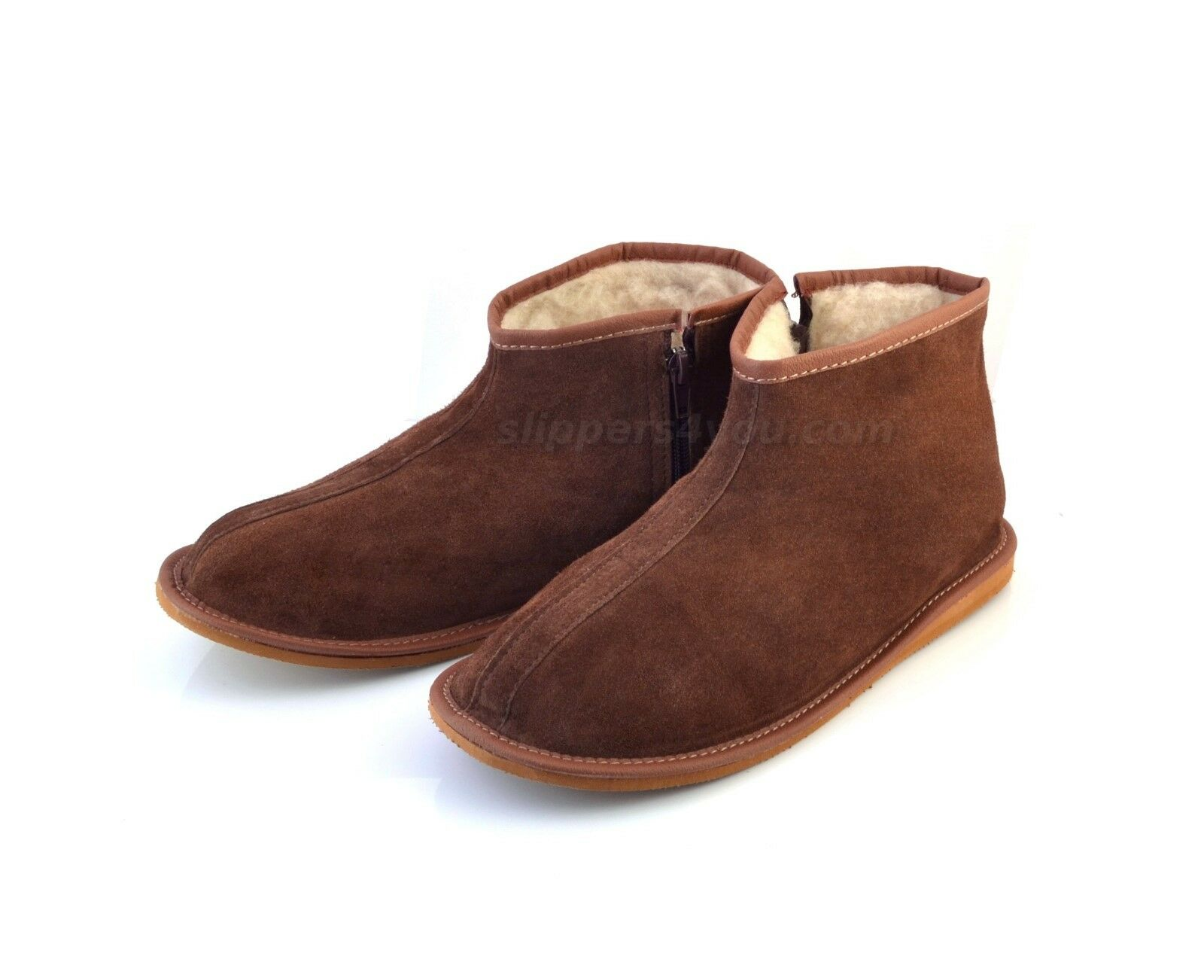 Men's Brown Leather Slippers Shoes Zip Boots Sheep Wool US size 7 8 9 10 11 12
