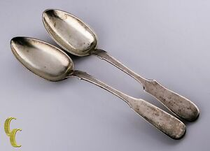 Details about Antique Russian Silver Set of 2 Serving Spoons W/ Hallmarks  875 Fine