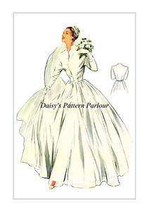 Vestido de Boda patrón de costura Vintage 1950 Vestido Noche Baile de graduación DAISYS De Colección