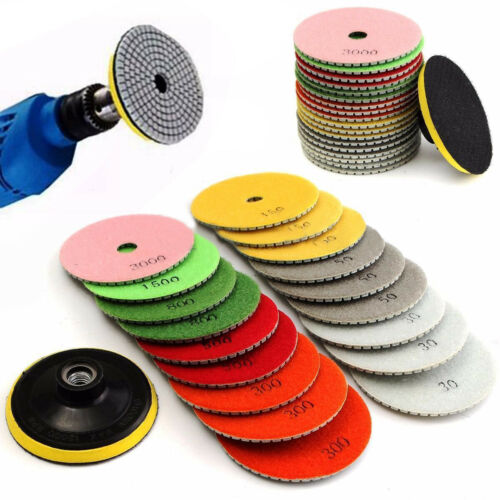 19PCs Set 4inch Diamond Polishing pads Granite Marble Concrete Stone Wet Tool