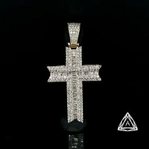 10k Yellow Gold Mens Diamond cross pendant 2.05ct Canada Preview