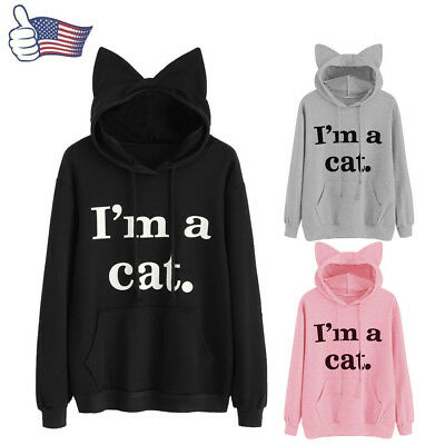 Womens Cat Long Sleeve Hoodie Sweatshirt Hooded Pullover Tops Blouse Fashion New