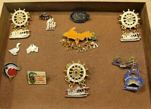 Lot-of-9-Rare-amp-Unique-Vintage-Michigan-Lions-Club-Pins