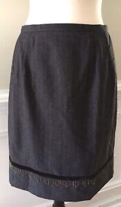 Harve-Benard-Gray-Pinstripe-Lined-100-Wool-Career-Skirt-Chain-Embellished-Sz-12