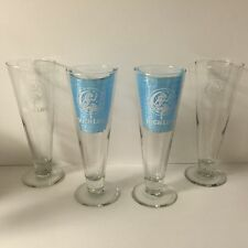 Miller High Life 14 Oz Footed Glass Set of Four(4) Glasses Girl On The Moon NEW