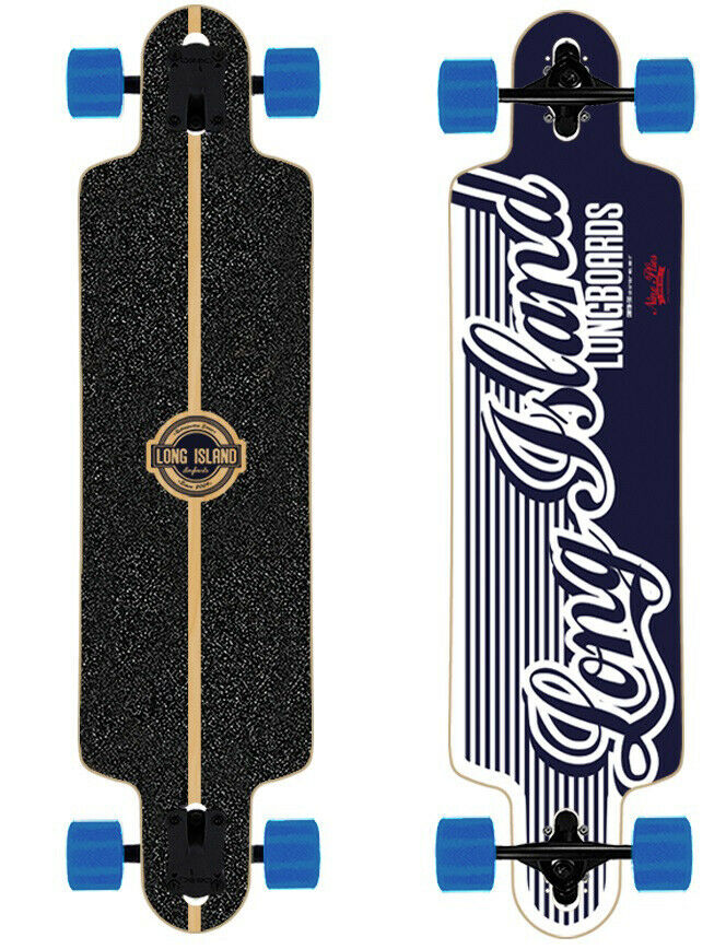 Long Island Longboard MB120-Wave Drop-Through 8,7   X38.9   with bluee Rolls