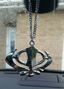 Stainless Steel Punjabi Sikh Khanda No Stones Stunning Pendant Car Rear Mirror