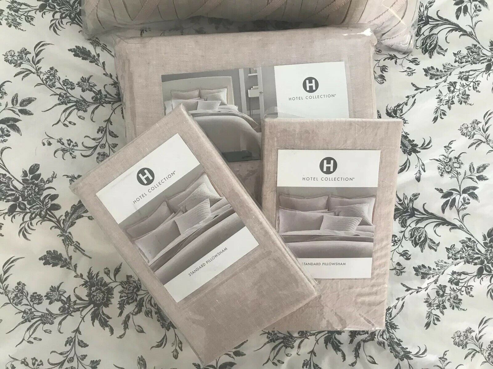 Hotel Collection pinkQUARTZ Solid Linen Queen Duvet Cover+2 St. Shams, Brand New