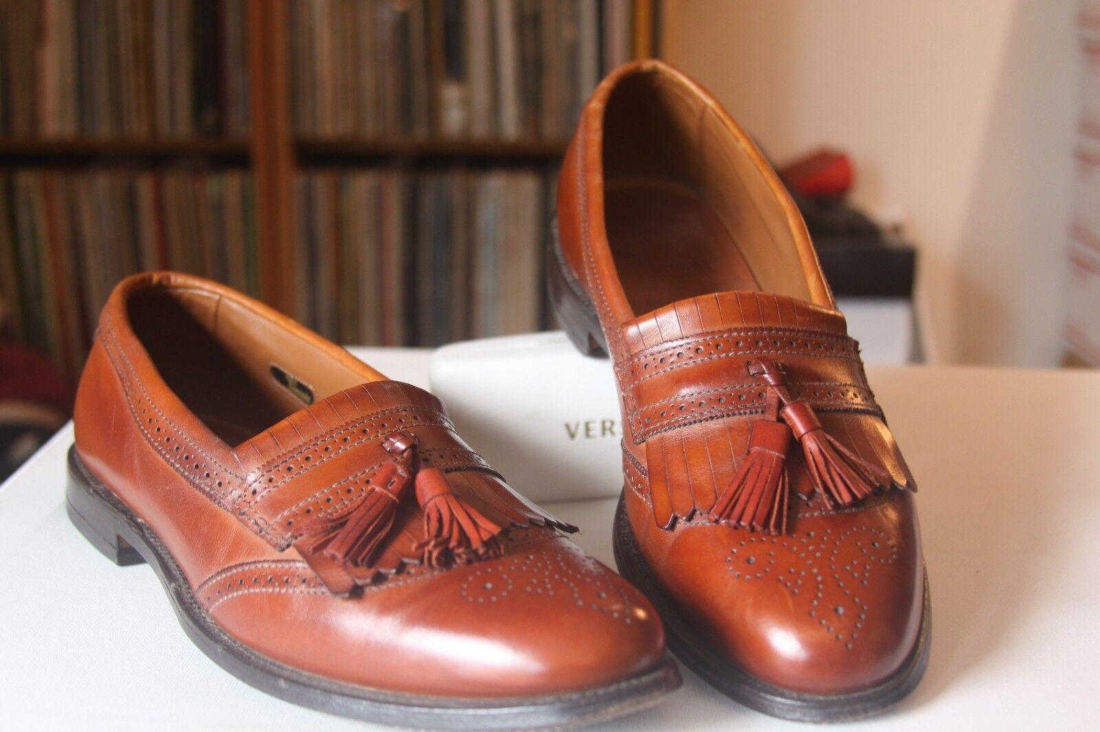 Allen Edmonds 43657 Bridgeton Brown Pelle Kiltie Tassel Loafers Size 10 B