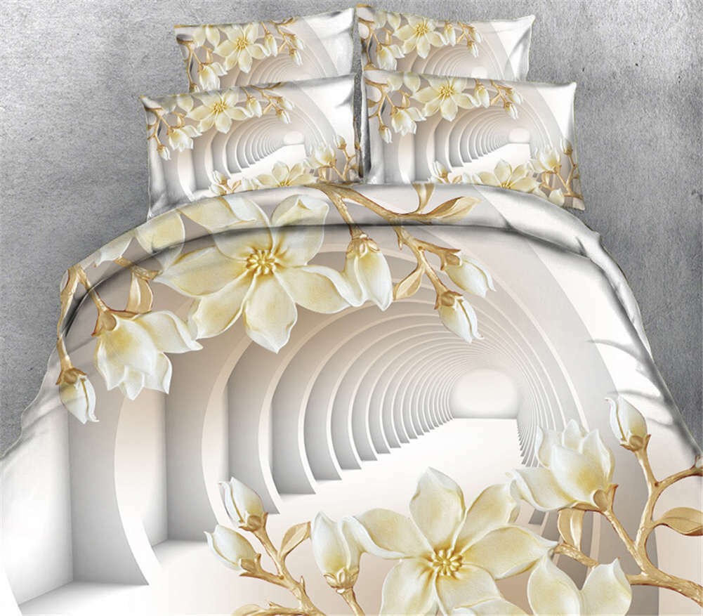 White Pond Lily 3D Printing Duvet Quilt Doona Covers Pillow Case Bedding Sets
