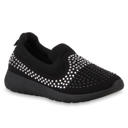 Bequeme Damen Slip-ons Strass Sportschuhe Slipper Trend Schuhe 810777 Top