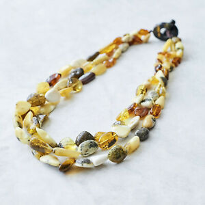 Natural Amber Statement Necklace Baltic Amber Beaded Necklace Chunky Beads Gift