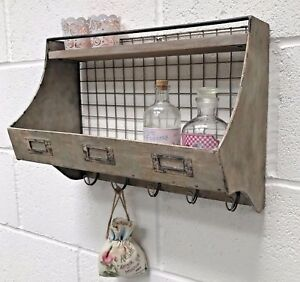 Industrial-Style-Metal-Wall-Shelf-With-Storage-Hooks-Vintage-Rustic-Unit-Cabinet