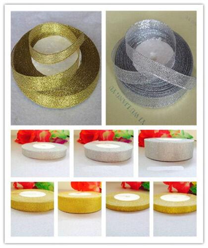"""New 25 Yards 3//8/""""10-40mm Gold and silver Sheer Organza Ribbon Bow Craft Wedding"""