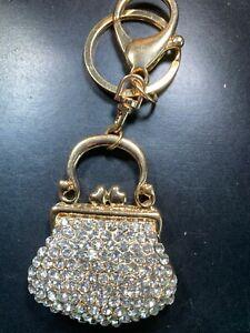Fashion Women Purse Shaped Keychain Crystal Keyring Handbag Charm