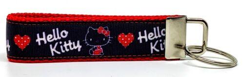 "Hello Kitty Key Fob Wristlet Keychain 1/""wide Zipper pull Camera strap handmade"