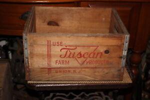 Antique-Tuscan-Farm-Union-New-Jersey-NJ-Wood-Milk-Crate-Bottle-Carrier-Farm