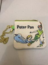 Disney Store Japan: Zippered Canvas Pouch With Chain: Peter Pan & Friend (AAA)