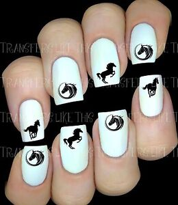 Chevaux-Silhouette-sticker-autocollant-ongles-manucure-nail-art-water-decal-deco