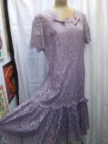 Vintage 1950's Lavender Rayon Lace Satin Bows Coc