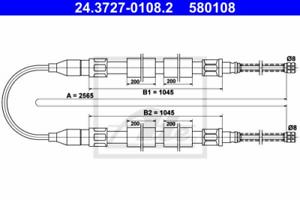 Feststellbremse für Bremsanlage Hinterachse ATE 24.3727-0108.2 Seilzug