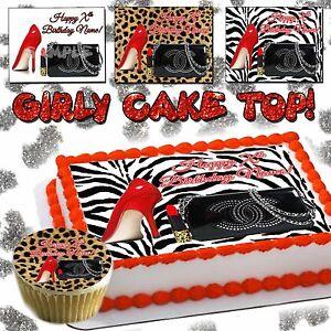 Purse Edible Cake topper birthday cheetah leopard skin ...