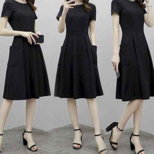 Plus Size Korean Summer Midi Dresses Pocket Round Neck Loose Casual Long Dre X