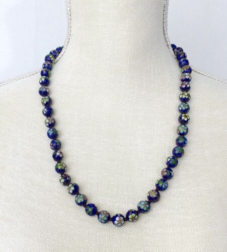 Boho Chic Glass Beads Five Strand Necklace in Gold and Yellow with Amethyst and Blue Topaz Accents