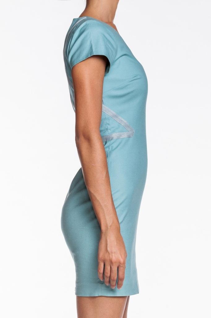 Rebecca Minkoff Women Minetta Dress Turquoise Grosgrain Grosgrain Grosgrain Accent Zipper Fitted NEW faff32
