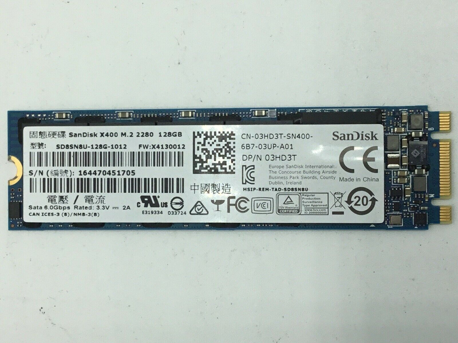 SanDisk SSD X400 128GB M.2 2280 Solid State Drive - SD8SN8U-128G-1012 03HD3T. Buy it now for 16.95