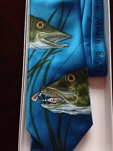 Northern Pike And Big Mouth Bass Fish Hand Painted Tie Ebay