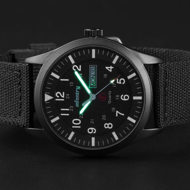 INFANTRY Men's Quartz Wrist Watch Date Luminous Sport Military Army Black Nylon