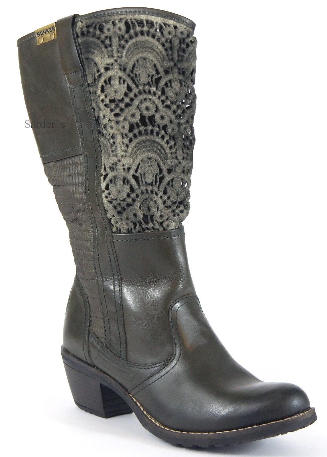 BUNKER Stiefel 39 Nappa LEDER Khaki Stiefelette Häkel Cowboy Absatz Stiefel NEU