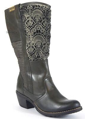 BUNKER Stiefel 39 Nappa LEDER Khaki Stiefelette Häkel Cowboy Absatz Boots NEU | eBay
