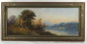 William Henry Chandler original signed oil pastel painting -lake,sailboats c1900